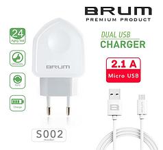 Сетевое зарядное устройство, СЗУ, адаптер BRUM BM-S002 (2USB 2.1A) + кабель Micro USB белый