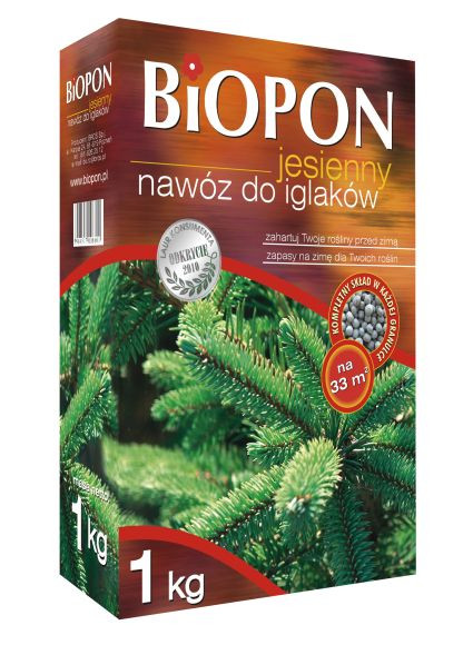 Биопон (Biopon) удобрение осеннее для хвойных растений 1кг Гранулированное комплексное