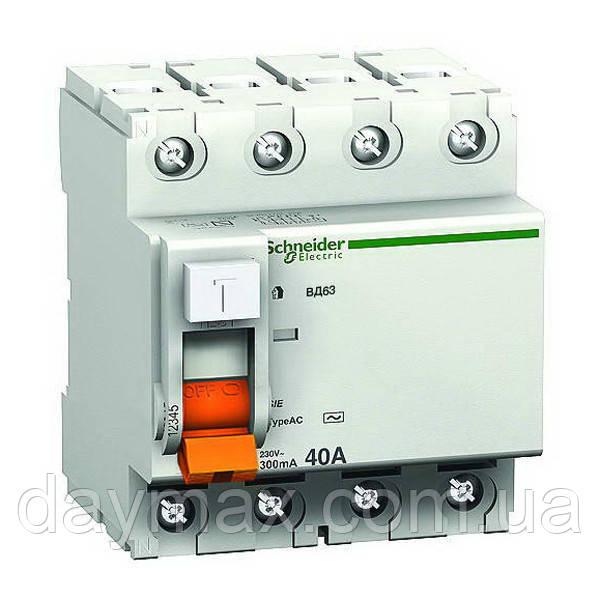 Дифференциальный выключатель (УЗО) 11464 ВД63, 4P 40А 100мА