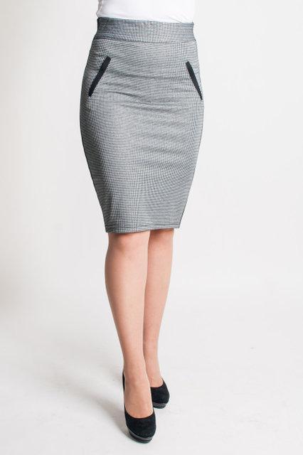 Модная серая юбка-карандаш в мелкую клетку. Размеры: 44-54