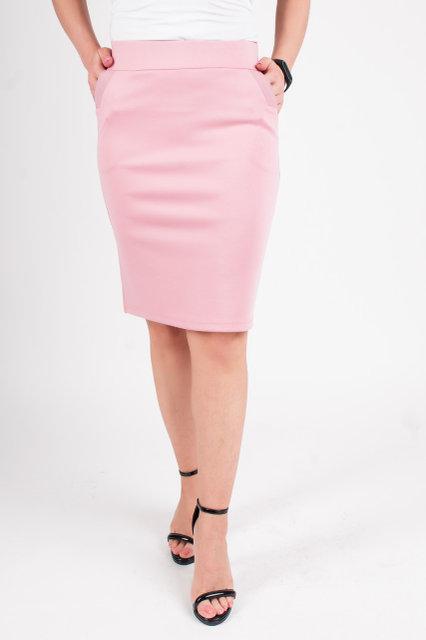 Стильная юбка-карандаш цвета пудры, из качественного трикотажа Алекс