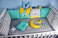 Бортики в кроватку  Littlebo  с игрушками и подушками звезды зигзаг  мятно-серый