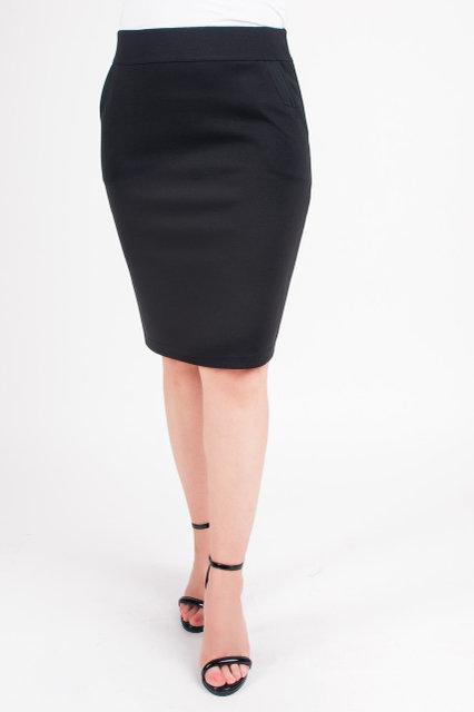 df23f4569e7 Черная трикотажная юбка-карандаш с карманами. Размеры  44-54 ...