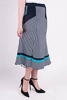 Трикотажная юбка миди увеличенных размеров, с принтом и бирюзовой полоской