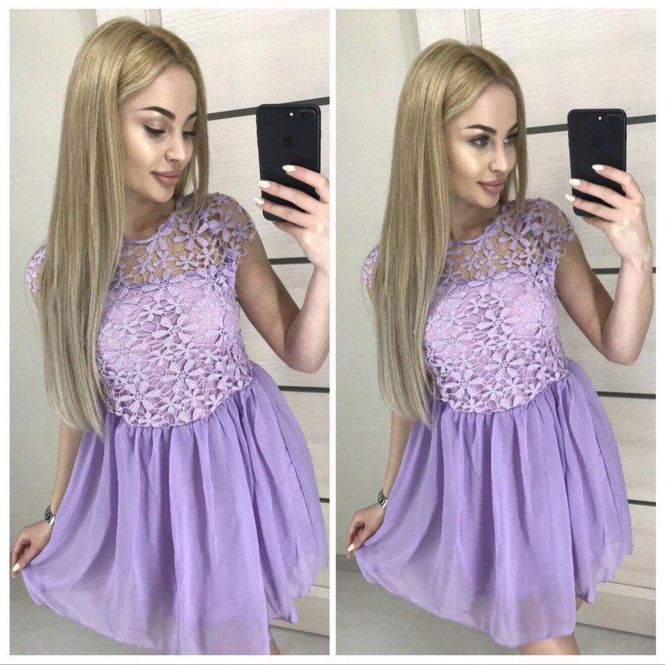 Яркое летнее платье с кружевом