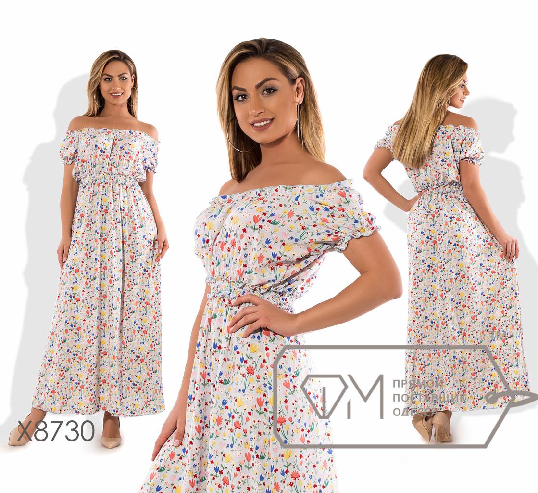f951774c68d Летнее платье в пол из принтованного софта с вырезом анжелика коротким  рукавом и резинкой на талии