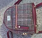 Рюкзак мини женский в мелкую клетку Бордовый, фото 3