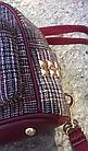 Рюкзак мини женский в мелкую клетку Бордовый, фото 4