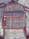 Рюкзак мини женский в мелкую клетку Бордовый, фото 5