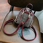 Рюкзак мини женский в мелкую клетку Бордовый, фото 6