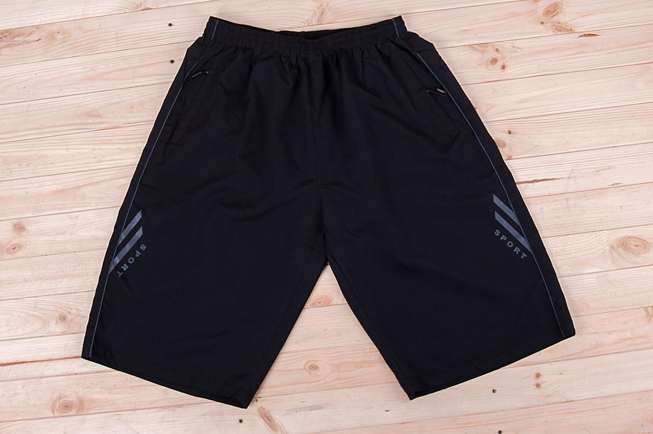 Чоловічі шорти великого розміру (плащівка), чорного кольору