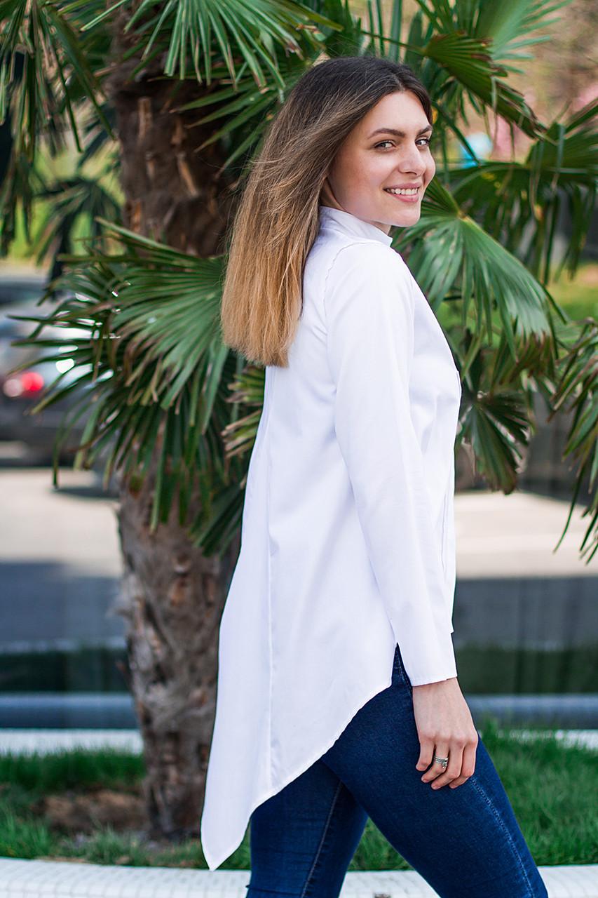 Женская рубашка удлиненная спинка с длинным рукавом белого цвета