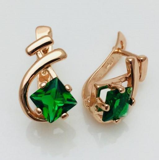 Серьги Fallon Камушек зеленый, позолота 18К