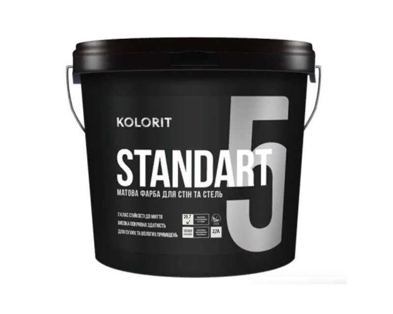 "Фарба акрилова KOLORIT STANDART 5 інтер'єрна база ""А""-біла 2,7 л"