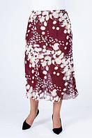 Шифоновая бордовая юбка больших размеров, длиной миди, с поясом на резинке, фото 1