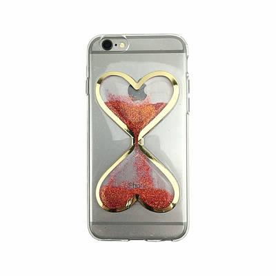 Чехол накладка xCase на iPhone 6/6s песочные часы красно-золотые