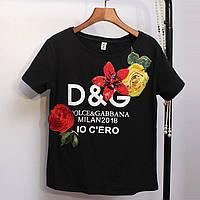 Женская футболка D&G 2018 с пайетками черная, фото 1