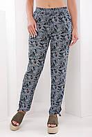 Легкие женские летние брюки на резинке с узором черно-бирюзовый