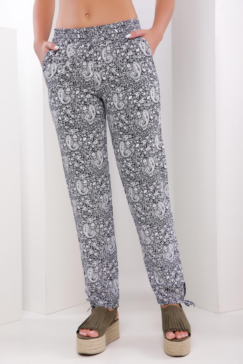 Свободные женские летние брюки на резинке узор черно-белый -