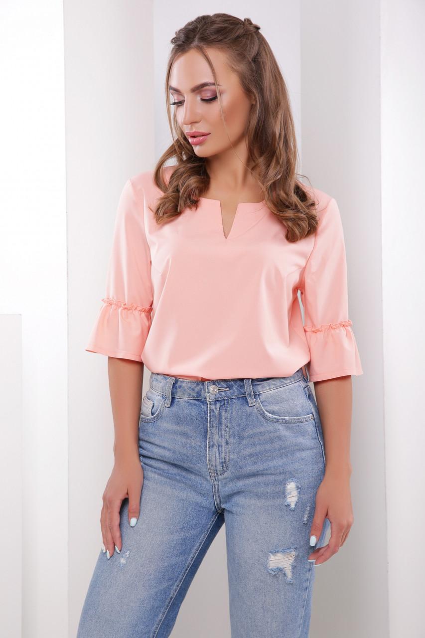 8f99ad44998 Легкая нарядная персиковая блузка рукав 3 4 с воланом -
