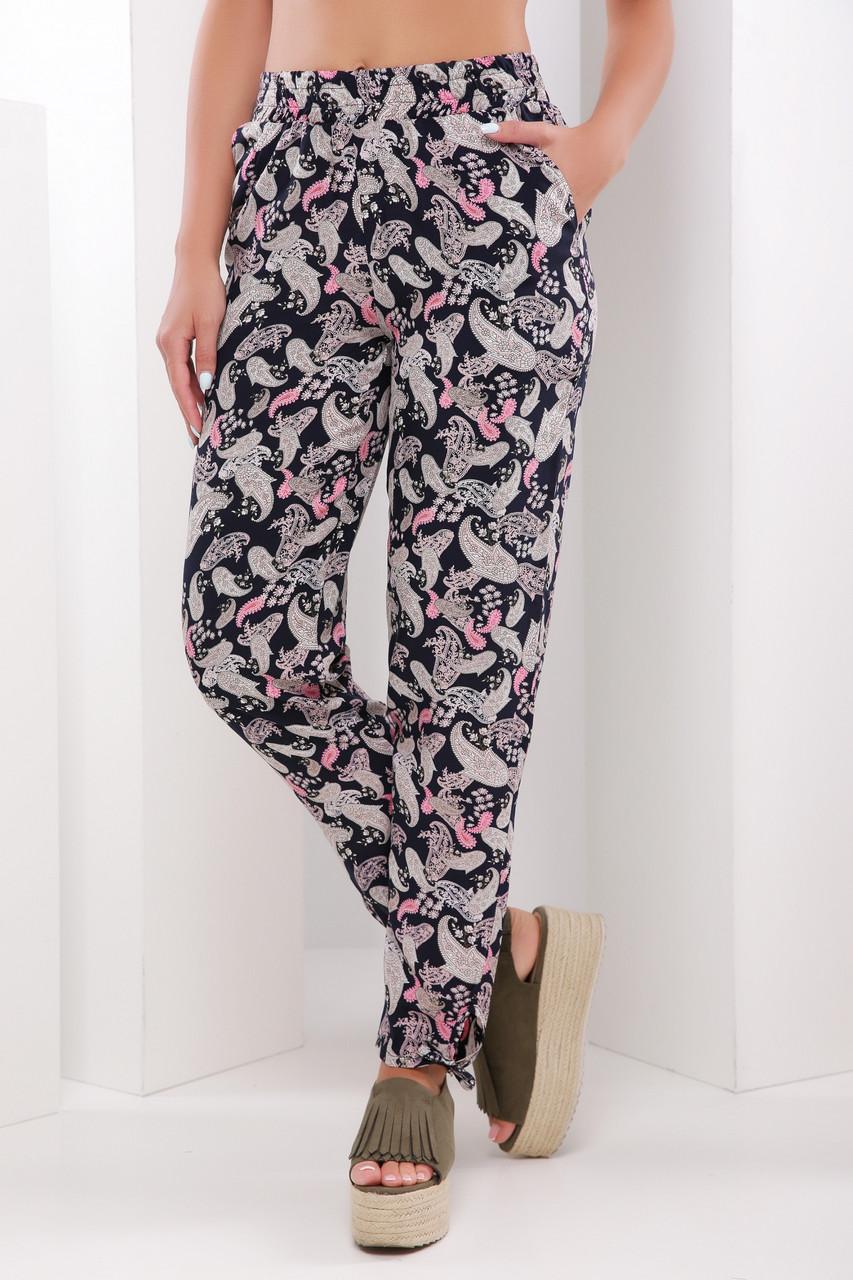Модные летние женские брюки на резинке принт черно-бежевый -
