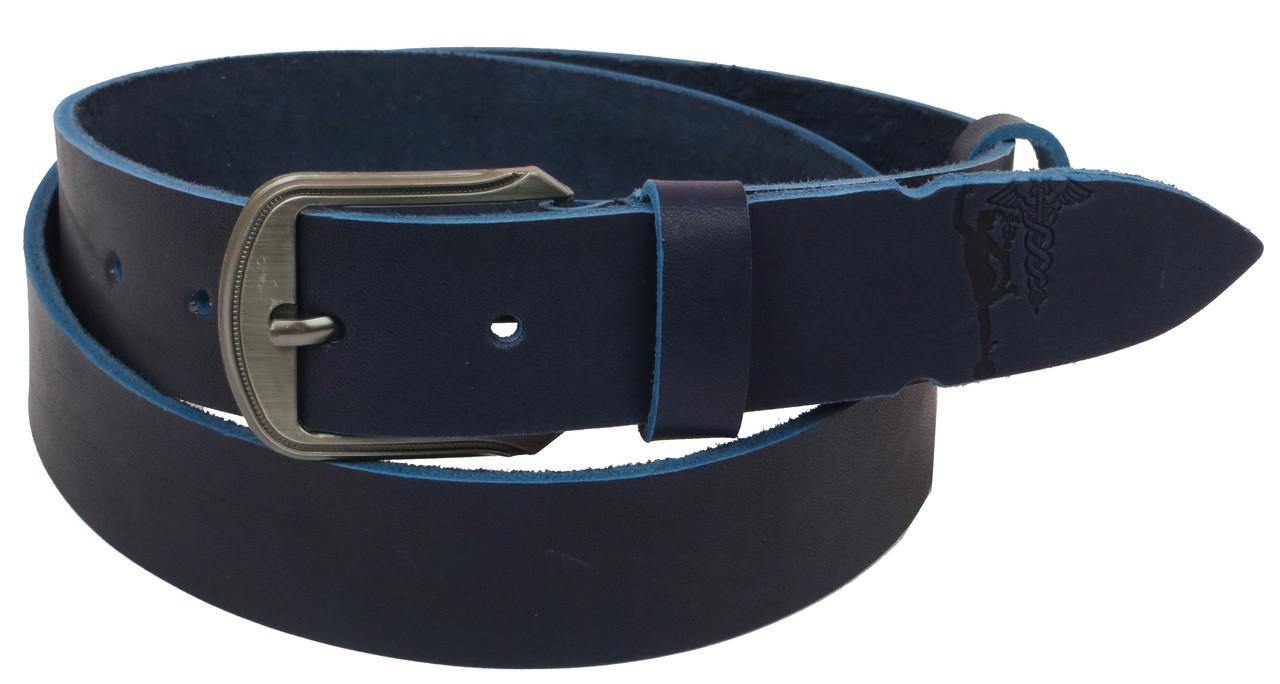 Мужской кожаный ремень под джинсы Skipper 1088-38 синий 3,8 см