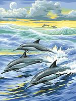 Алмазная вышивка DM-043 Семья дельфинов 20*40см