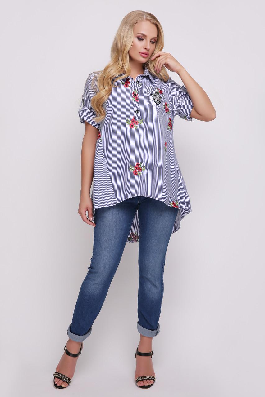 Рубашка женская Ангелина вышивка голубая полоска