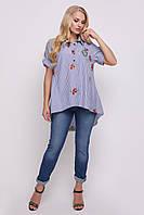 Рубашка женская Ангелина вышивка голубая полоска, фото 1