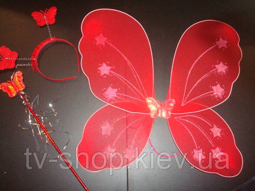 Крылья карнавальные  3 в 1 Бабочка (красный,желтый)