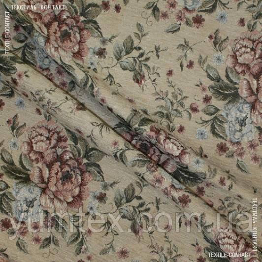 Шеніл-гобелен беж троянди 114771