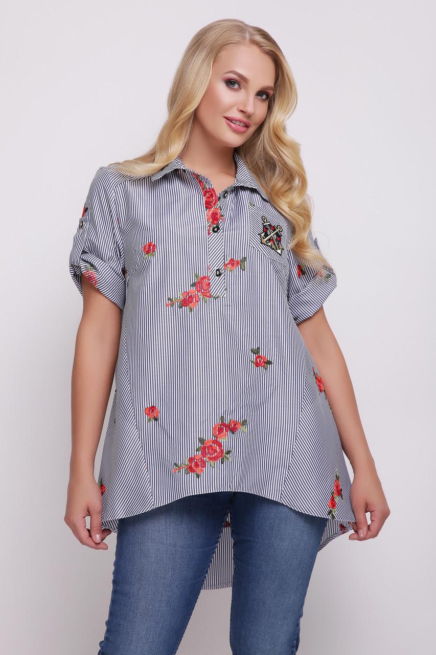 Рубашка женская Ангелина вышивка черно-белая