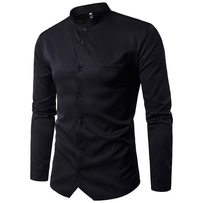 6a73f61797b228a Стретчевая мужская рубашка с воротом стойкой - Интернет магазин