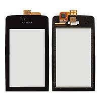 Оригинальный сенсорный экран Nokia Asha 308 черный (тачскрин, стекло в сборе), Оригінальний сенсорний екран Nokia Asha 308 чорний (тачскрін, скло в