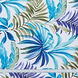 Декоративная ткань  лонета феникс/fenix /листья голубой сине-фиолетовый,оливка 148853, фото 3