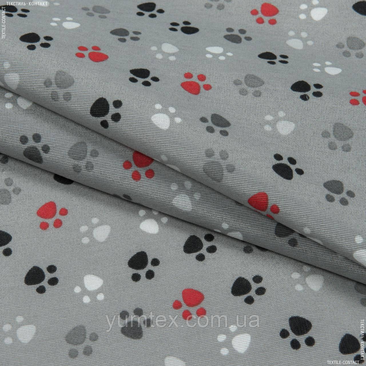 Декоративна тканина лонета хеллас/huellas /фон сірий 148859