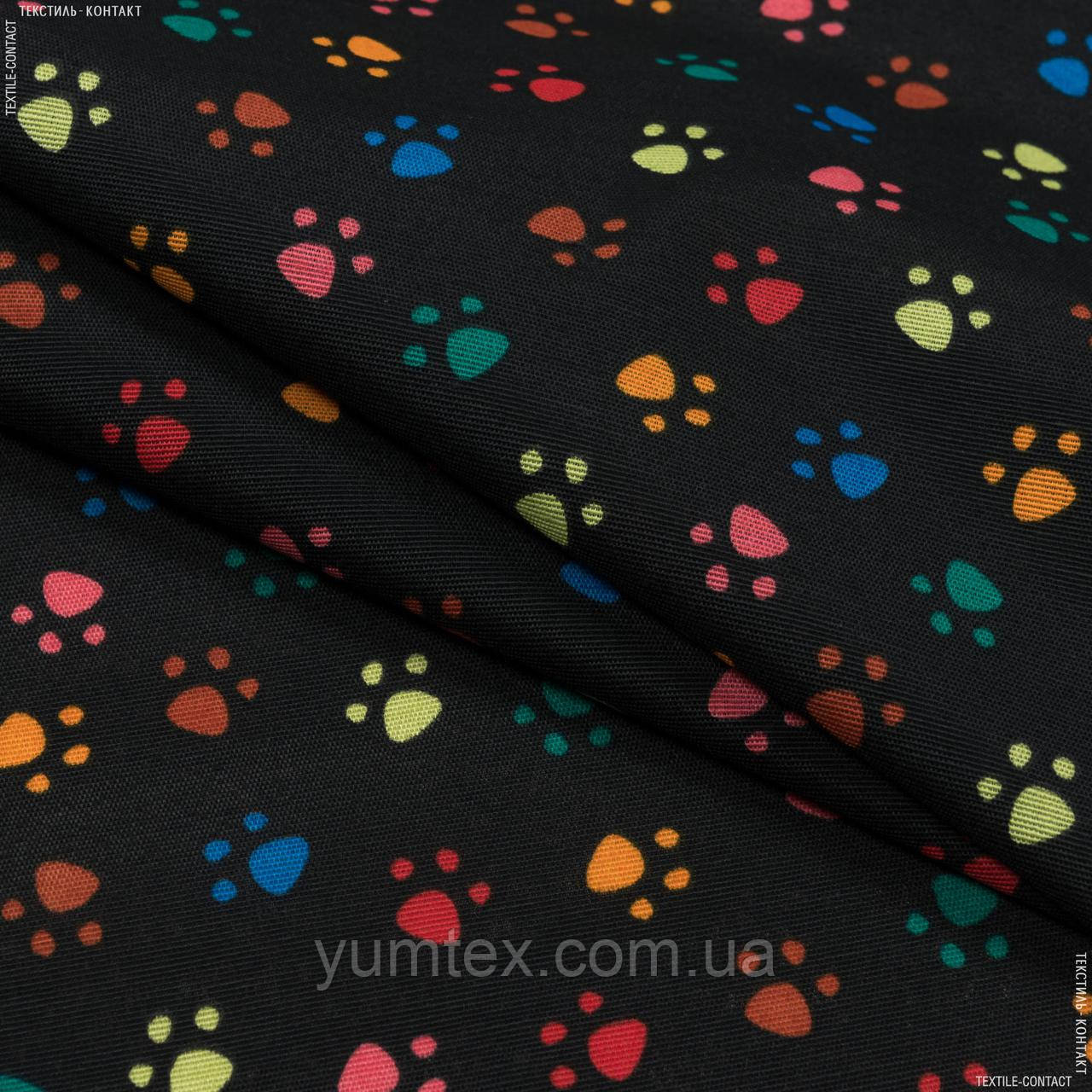 Декоративна тканина лонета хеллас/huellas фон чорний,мультиколор 148861