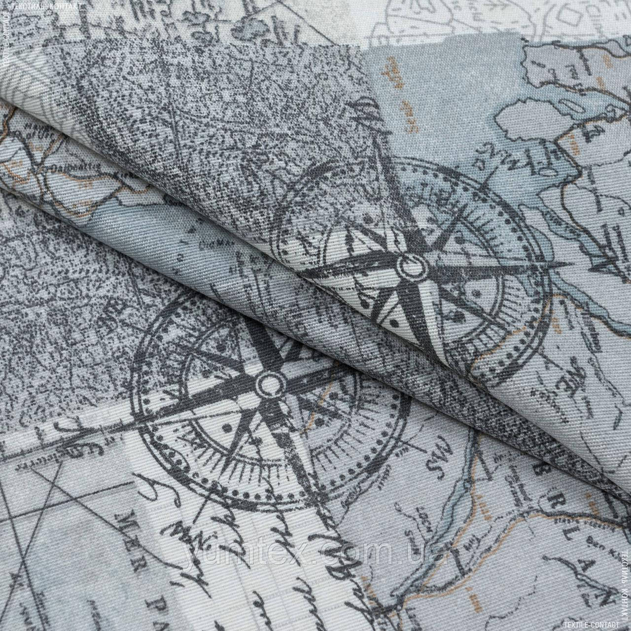 Декоративна тканина лонета мунді/mundi /карта ,сірий 148862