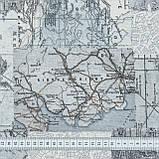 Декоративна тканина лонета мунді/mundi /карта ,сірий 148862, фото 3