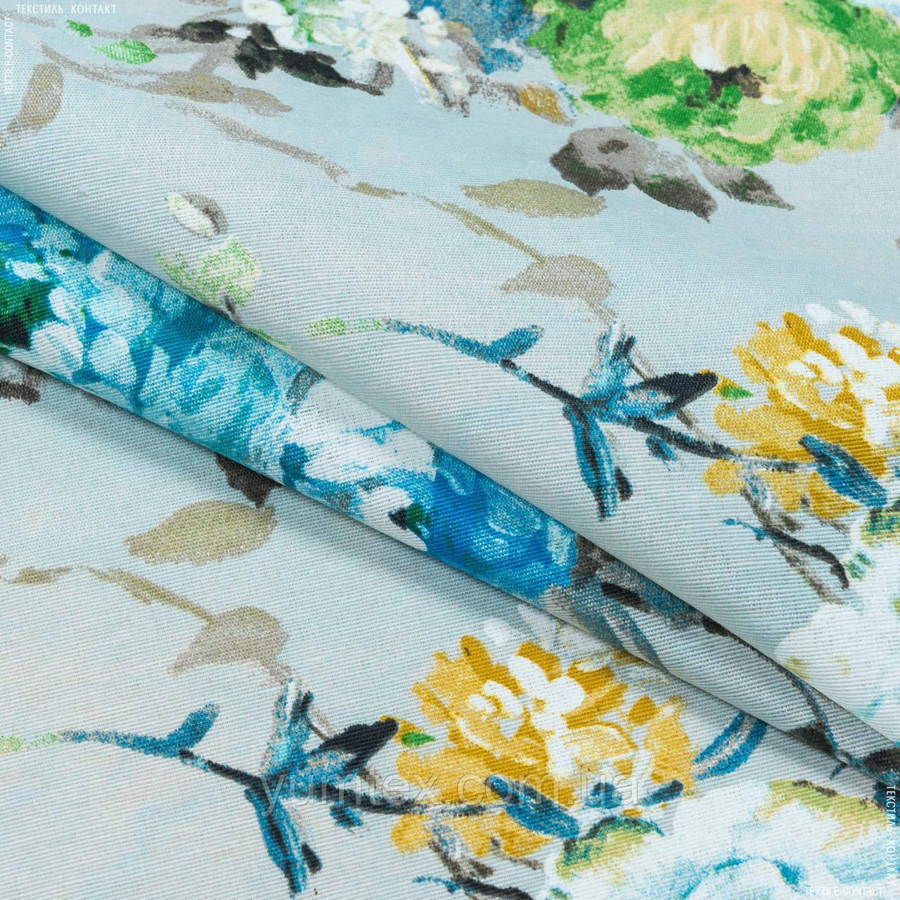 Декоративная ткань  лонета каролина/carolina  цветы синий,карамель,т.беж 148872