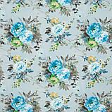 Декоративная ткань  лонета каролина/carolina  цветы синий,карамель,т.беж 148872, фото 2