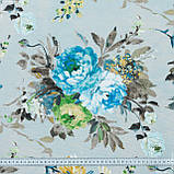 Декоративная ткань  лонета каролина/carolina  цветы синий,карамель,т.беж 148872, фото 3