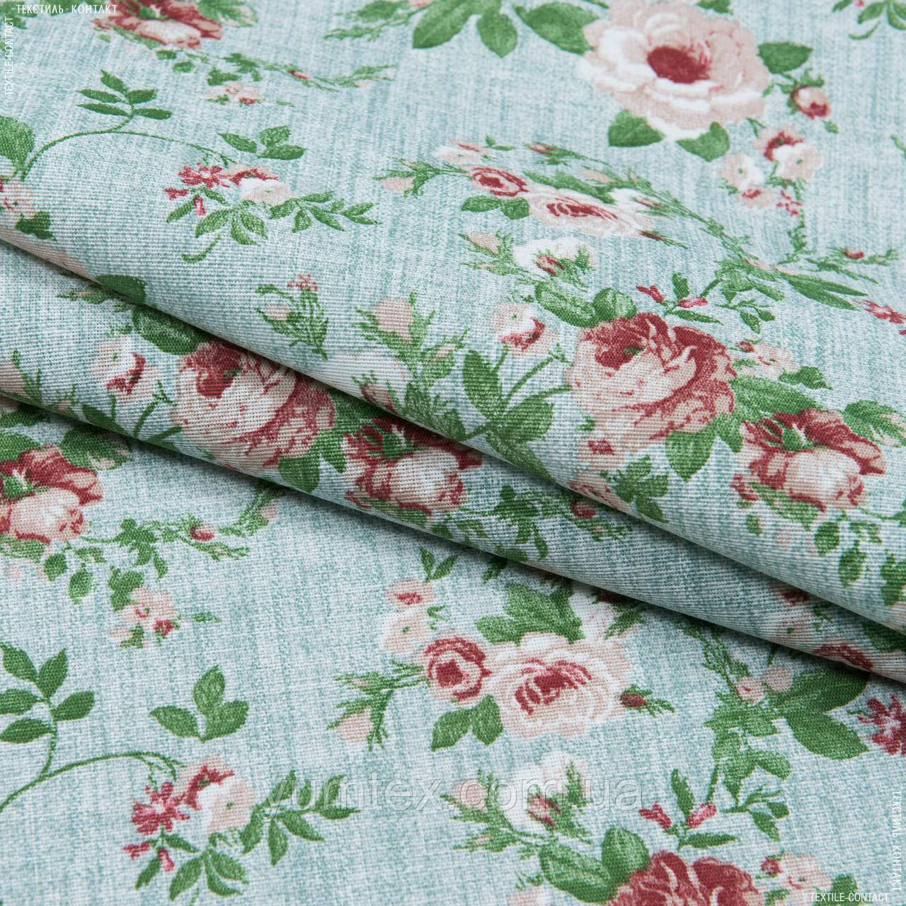 Декоративная ткань  лонета  неус/neus  цветы мелкие гранат,фон зеленый 148876
