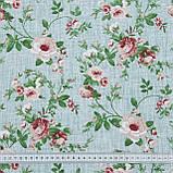Декоративная ткань  лонета  неус/neus  цветы мелкие гранат,фон зеленый 148876, фото 3