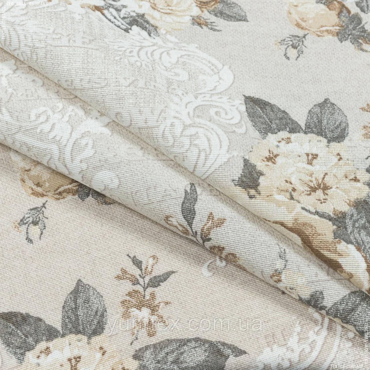 Декоративна тканина лонета неус/neus квіти беж т. сірий,фон св. беж 148877