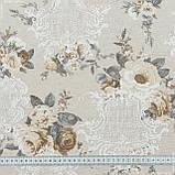 Декоративна тканина лонета неус/neus квіти беж т. сірий,фон св. беж 148877, фото 3