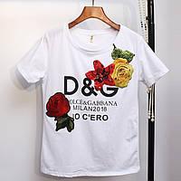 Женская футболка D&G 2018 с пайетками белая