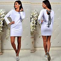 Женское трикотажное платье с длинным рукавом с завязками на спине