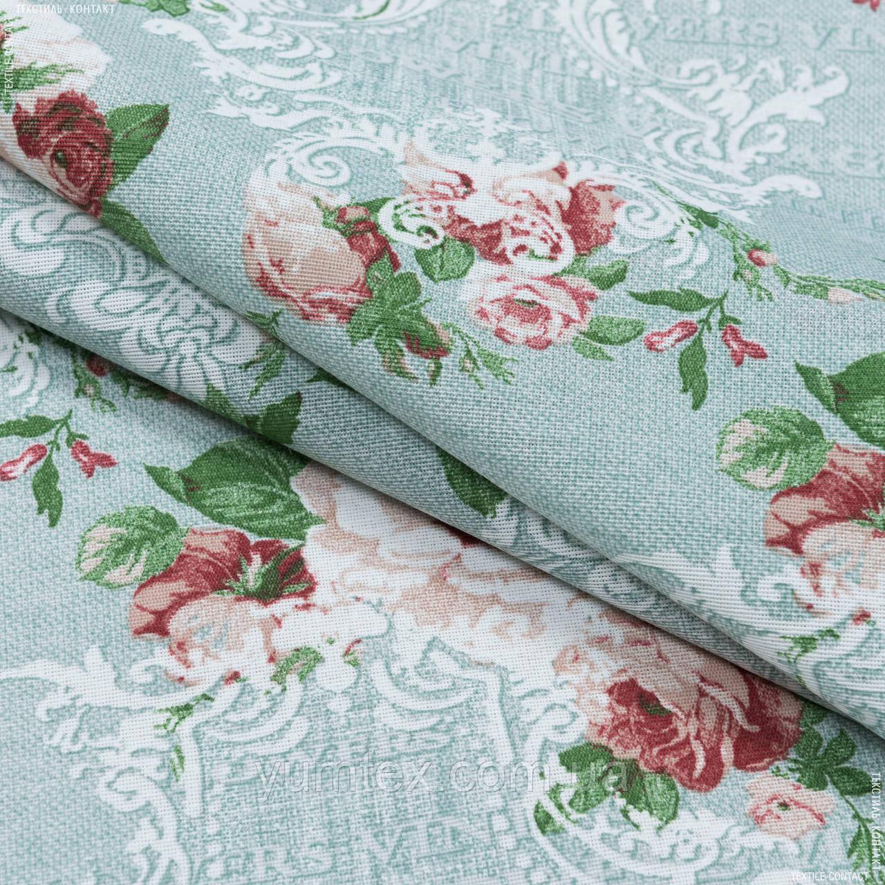 Декоративная ткань  лонета неус/neus  цветы  гранат ,фон св.зеленый 148875