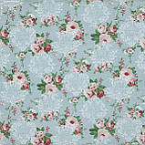 Декоративная ткань  лонета неус/neus  цветы  гранат ,фон св.зеленый 148875, фото 2